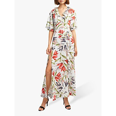 French Connection Cadencia Crepe Maxi Dress, Light Dream Blue Multi