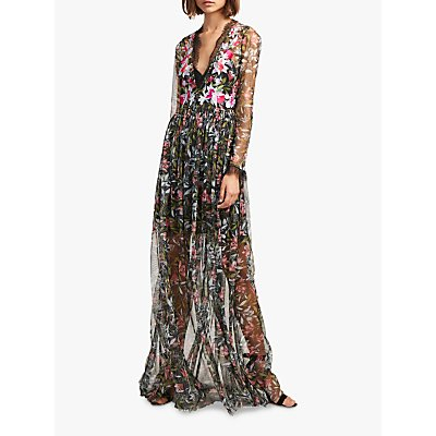 French Connection Flori Embroidered Dress, Black/Multi