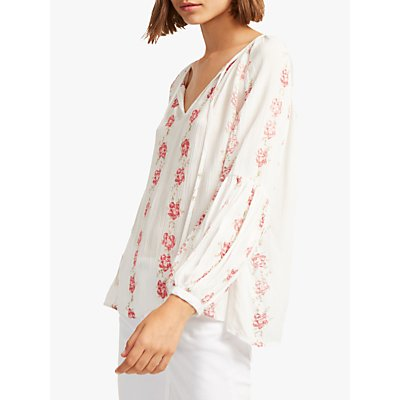 French Connection Carina Crinkle Floral Embroidery Blouse, Summer White/Multi