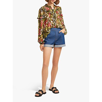 French Connection Floreta Crinkle Floral Ruffle Blouse, Cactus/Multi