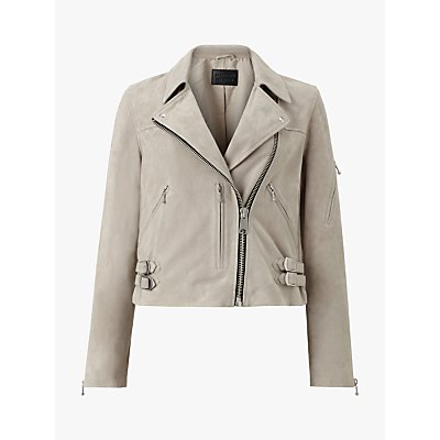 AllSaints Suede Prescott Biker Jacket, Grey Marl