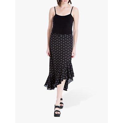 Max Studio Frill Hem Floral Print Skirt, Black/Ivory