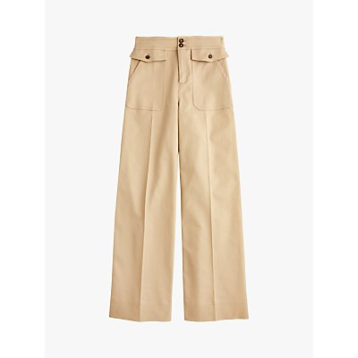 J.Crew Wide Leg Twill Trousers, Khaki