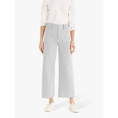 J.Crew Striped Patch Pocket Wide Leg Cropped Trousers, Ocean Reef Wash