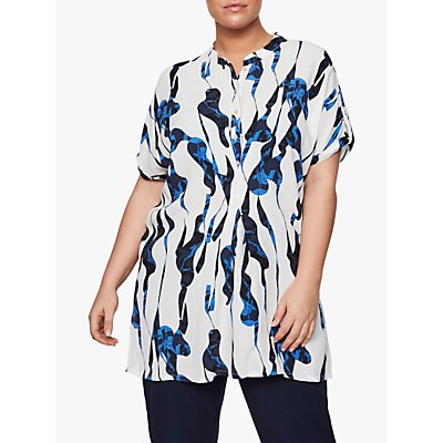 I.Scenery Curve Nahal Abstract Print Tunic Top, White