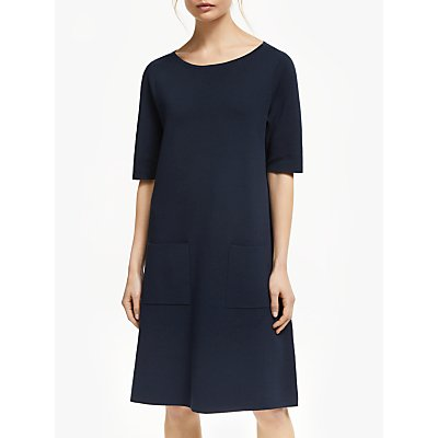 Winser London Milano Cotton Shift Dress, Midnight Navy