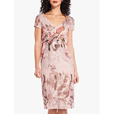 Adrianna Papell Border Short Dress, Apricot/Multi