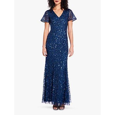 Adrianna Papell Sequin Mermaid Dress, Deep Blue