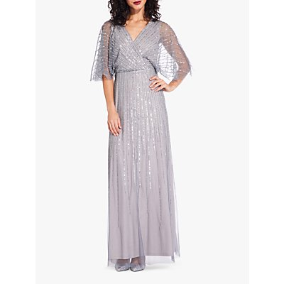 Adrianna Papell Mesh Sleeve Dress, Pewter/Silver