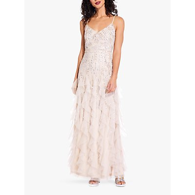 Adrianna Papell Beaded Long Dress, Shell