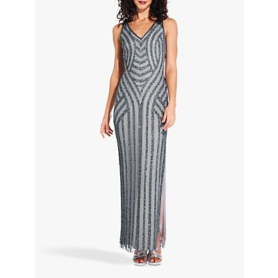 Adrianna Papell Sequin Overlay Dress, Pewter/Silver