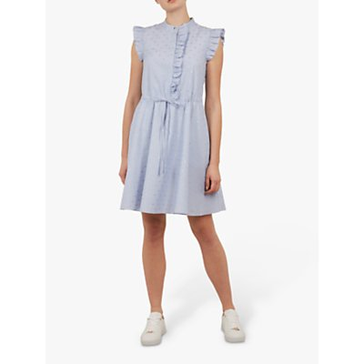 Ted Baker Beyonc Stand Collar Ruffle Shift Dress, White/Multi