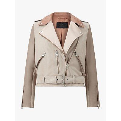 AllSaints Balfern Mix Leather Biker Jacket, Pink