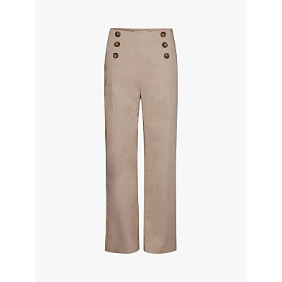 Gerard Darel Naelie Button Detail Straight Trousers, Beige