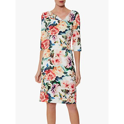 Gina Bacconi Isolena Floral Scuba Dress, Poppy Red/Multi