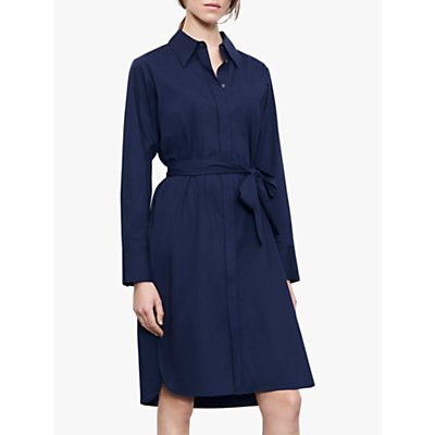 Winser London Cotton Poplin Shirt Dress, Midnight Blue