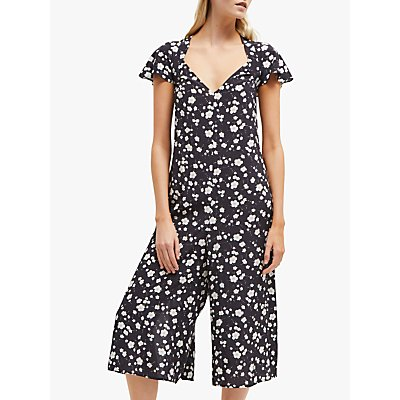 French Connection Charleena Floral Jumpsuit, Utility Blue/Multi