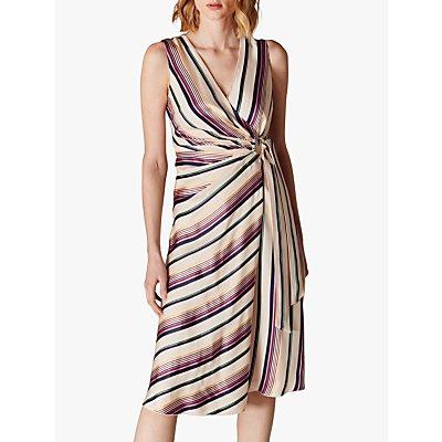 Karen Millen Striped Wrap Dress, Multi