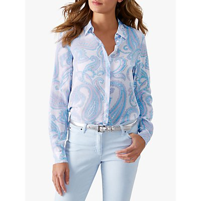 Pure Collection Relaxed Silk Blouse, Blue Paisley
