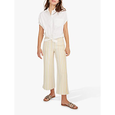 Madewell Emmett Wide Leg Stripe Trousers, Warm Honeysuckle