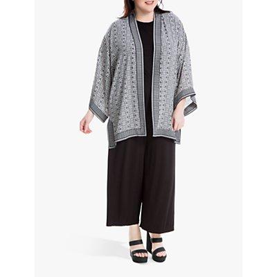 Max Studio + Ditsy Geo Print Kimono, Ivory/Black