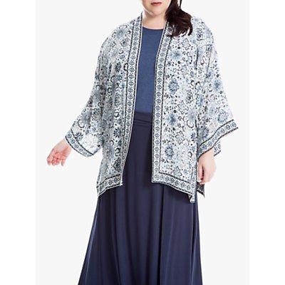 Max Studio + Floral Border Print Kimono, Cream/Blue
