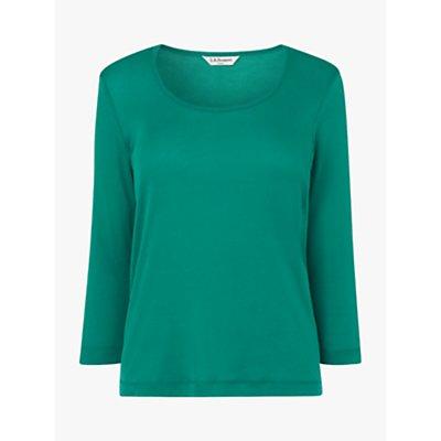 L.K.Bennett Jane Cotton Jersey Top, Green