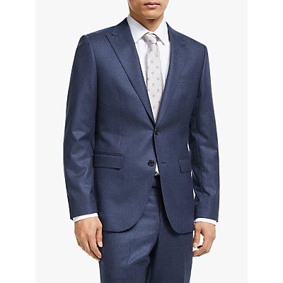 John Lewis & Partners Merino Flannel Tailored Suit Jacket, Blue
