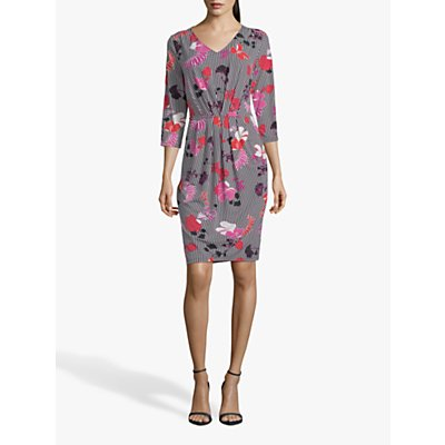 Betty Barclay Floral Stripe V-Neck Dress, Black/Pink