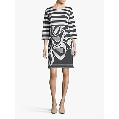 Betty Barclay Striped Monochrome Floral Dress, Black/Cream