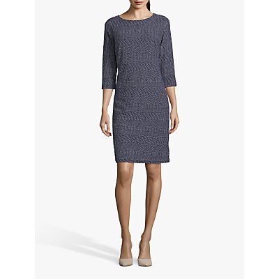 Betty Barclay Textured Round Neck Dress, Dark Blue/Cream