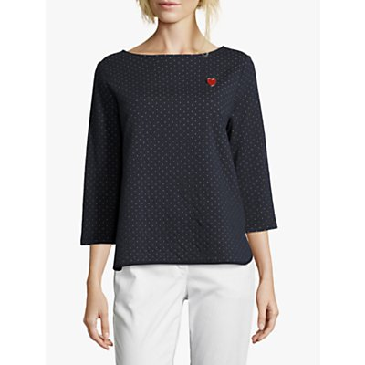 Betty Barclay Polka Dot Heart Top, Dark Blue/Cream