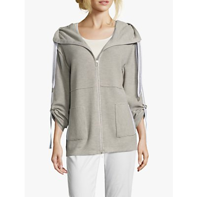 Betty Barclay Waffle Textured Zip Cardigan, Light Grey Melange