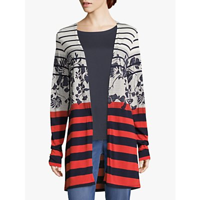 Betty Barclay Floral Striped Cardigan, Dark Blue/Red