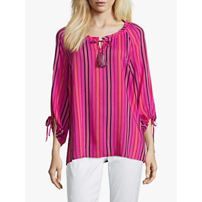 Betty Barclay Striped Three Quarter Sleeve Shirt, Pink/Black