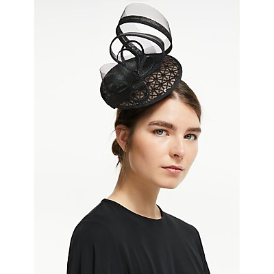 John Lewis & Partners Paula Embroidered Loop Fascinator, Black
