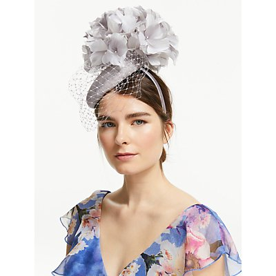 John Lewis & Partners Nancy Feather Veil Pillbox Fascinator, Silver