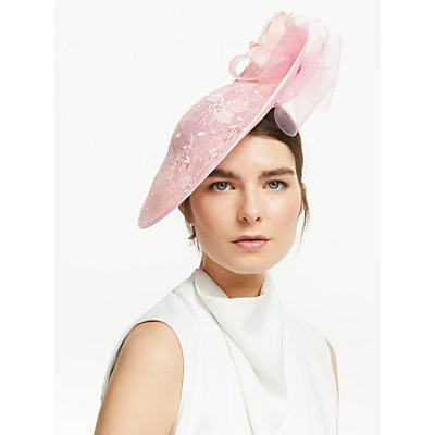 John Lewis & Partners Jennifer Side Disc Floral Occasion Hat, Chalk Pink