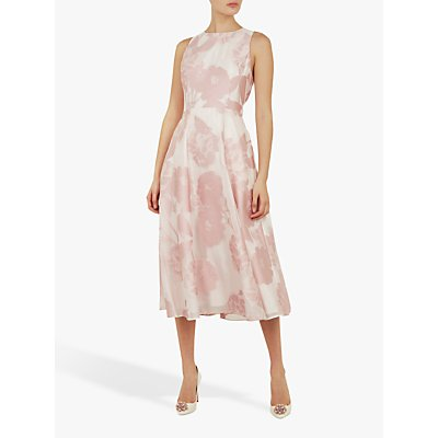 Ted Baker Wylieh Floral Jacquard Midi Dress, Light Pink