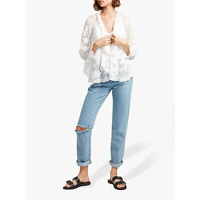 French Connection Elayna Lace Waterfall Jacket, White