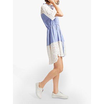 French Connection Adena Cotton Shirt Dress, Riviera Blue/Linen White