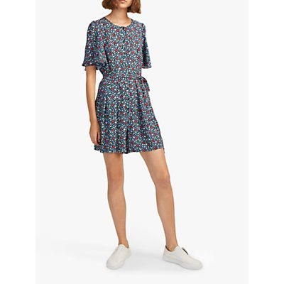French Connection Eden Crepe Playsuit, Utility Blue/Waterfall