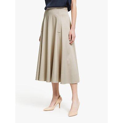 Winser London Midi Full Circle Skirt, Stone