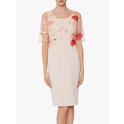 Gina Bacconi Patti Embroidered Floral Dress and Jacket, Pink/Red