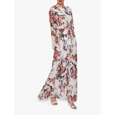 Gina Bacconi Dionne Chiffon Belted Maxi Dress, Rose/Multi