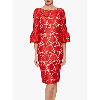 Gina Bacconi Genoveva Embroidered Dress, Red