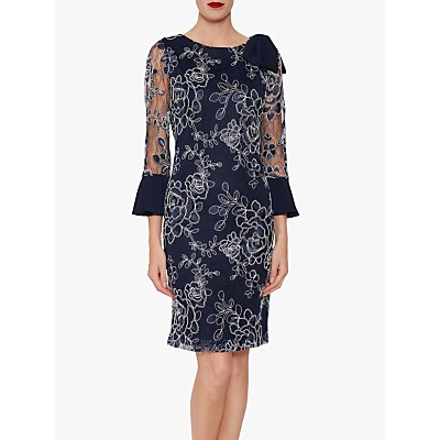 Gina Bacconi Melina Embroidered Dress, Spring Navy
