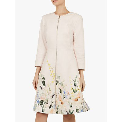 Ted Baker Luluuu Textured Dress Coat, Pink Nude