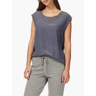 Brora Embroidered Silk Shell Top, Thunder