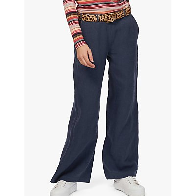 Brora Wide Leg Linen Trousers, Navy